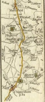 map of the road from Chippenham to Marshfield, Wiltshire