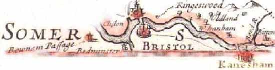 Picture map of Bristol, Oldland, West Hanham, Bitton and Kanesham and the River Avon.