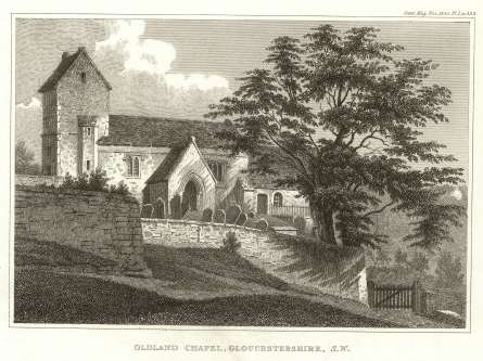 engraving of Oldland Chapel, Gloucestershire, with large Yew Tree